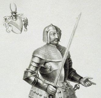 Badisches Wappen und Bildnis Bernhards I. von Baden