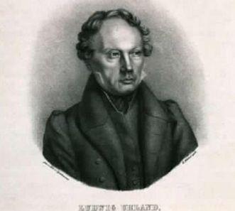 Bildnis von Ludwig Uhland, Lithografie um 1850; Foto: Landesmedienzentrum Baden-Württemberg, Dieter Jaeger
